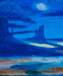 Cobalt Moonlit Dezert Oil Pastel by Sonia Rumzi