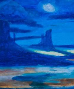 Cobalt Moonlit Dezert Oil Pastel by Sonia Rumzi
