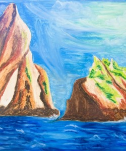 Sentinels Afloat Oil Pastel by Sonia Rumzi